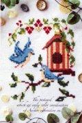 [6734] 暮らしを彩る刺しゅうのひととき アンカー ポストカードシリーズ 『バードハミング 小鳥たちの朝食』