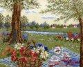 [5872] クロスステッチキット オノエ・メグミの物語からの花咲く風景 〜アリスの木陰のティータイム〜 No7427 (額別売)
