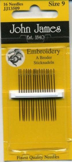 画像1: [8022] JOHN JAMES Embroidery England エンブロイダリー針 16本入 Size 9