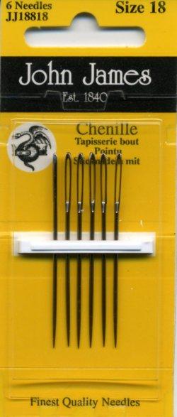 画像1: [8025] JOHN JAMES Chenille England シェニール針 6本入り Size 18