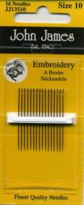 [8023] JOHN JAMES Embroidery England エンブロイダリー針 16本入 Size 10