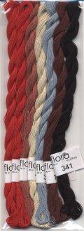 [8395] fru zippe flora cotton 【Kitooka C10 花と幾何学模様 使用色(赤)セット】※糸のみ(図案・生地・道具・(青)セットは含まれません)