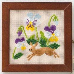 画像1: [8496] ルシアン コスモ かわいいどうぶつと季節のお花  No.870:うさぎとビオラ