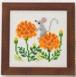 画像1: [8497] ルシアン コスモ かわいいどうぶつと季節のお花  No.871:ねずみとマリーゴールド