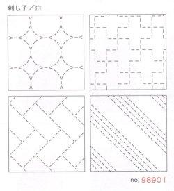 画像1: [8510] ルシアン COSMO hidamari 刺し子コースターが4枚作れるクロス 刺し子/白 no.98901