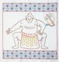 [8687] オリムパスキット 日本文化柄花ふきん 英語版作り方説明書付き SK-394 相撲 力士 初級者向 MADE IN JAPAN